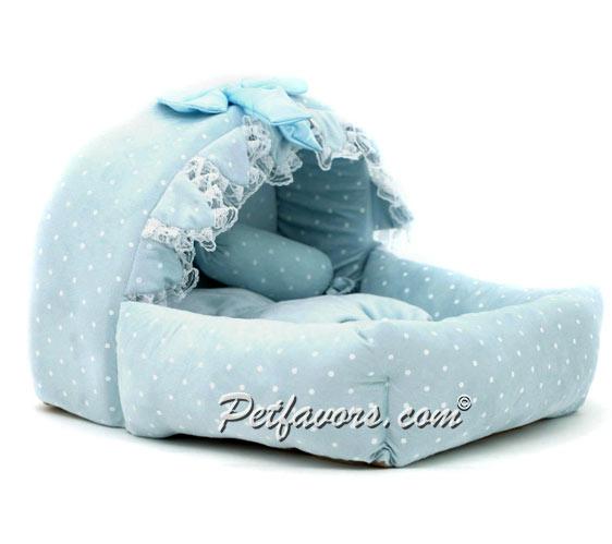 Polka Dot Cradle Pet Bed - Blue