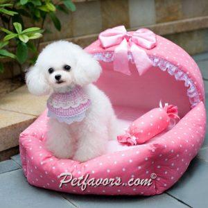 Polka Dot Cradle Pet Bed - Pink