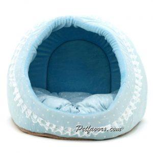 Cozy Polka Dot Den Pet Bed - Blue
