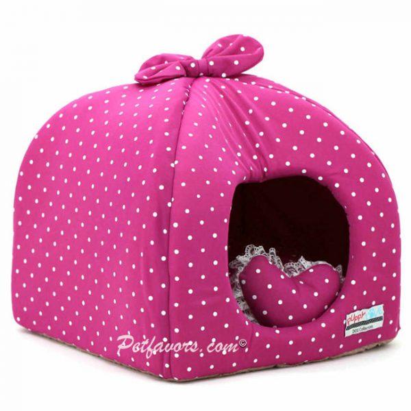Polka Dot Hideaway Pet Bed - Purple