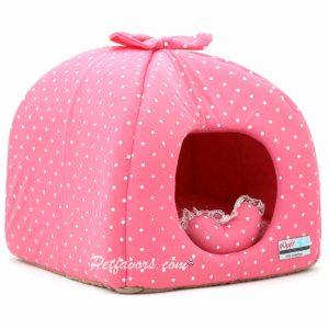 Polka Dot Hideaway Pet Bed - Pink