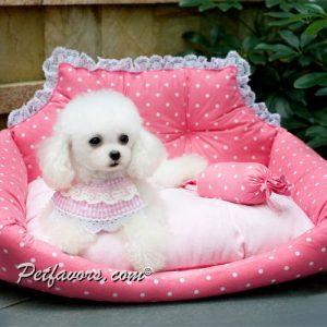 Polka Dot Sofa Pet Bed - Pink