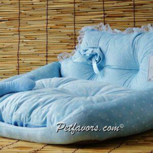 Polka Dot Sofa Pet Bed - Blue